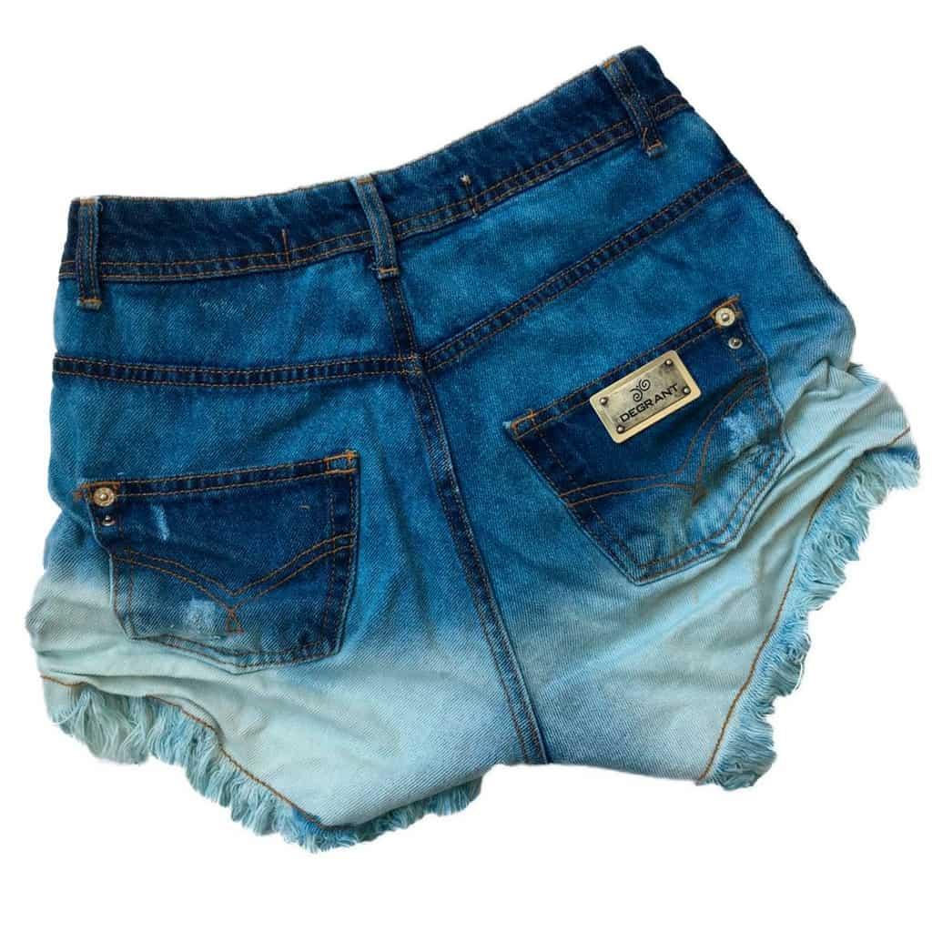 Short Jeans Degrant Cintura Alta Sky Bicolor Azul