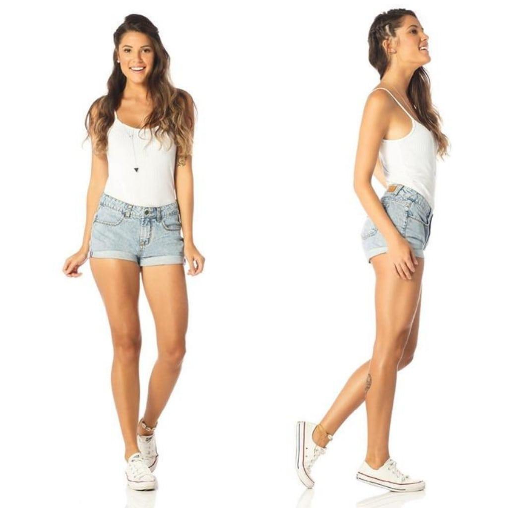 Short Jeans Denim Zero Barra Dobrada Azul