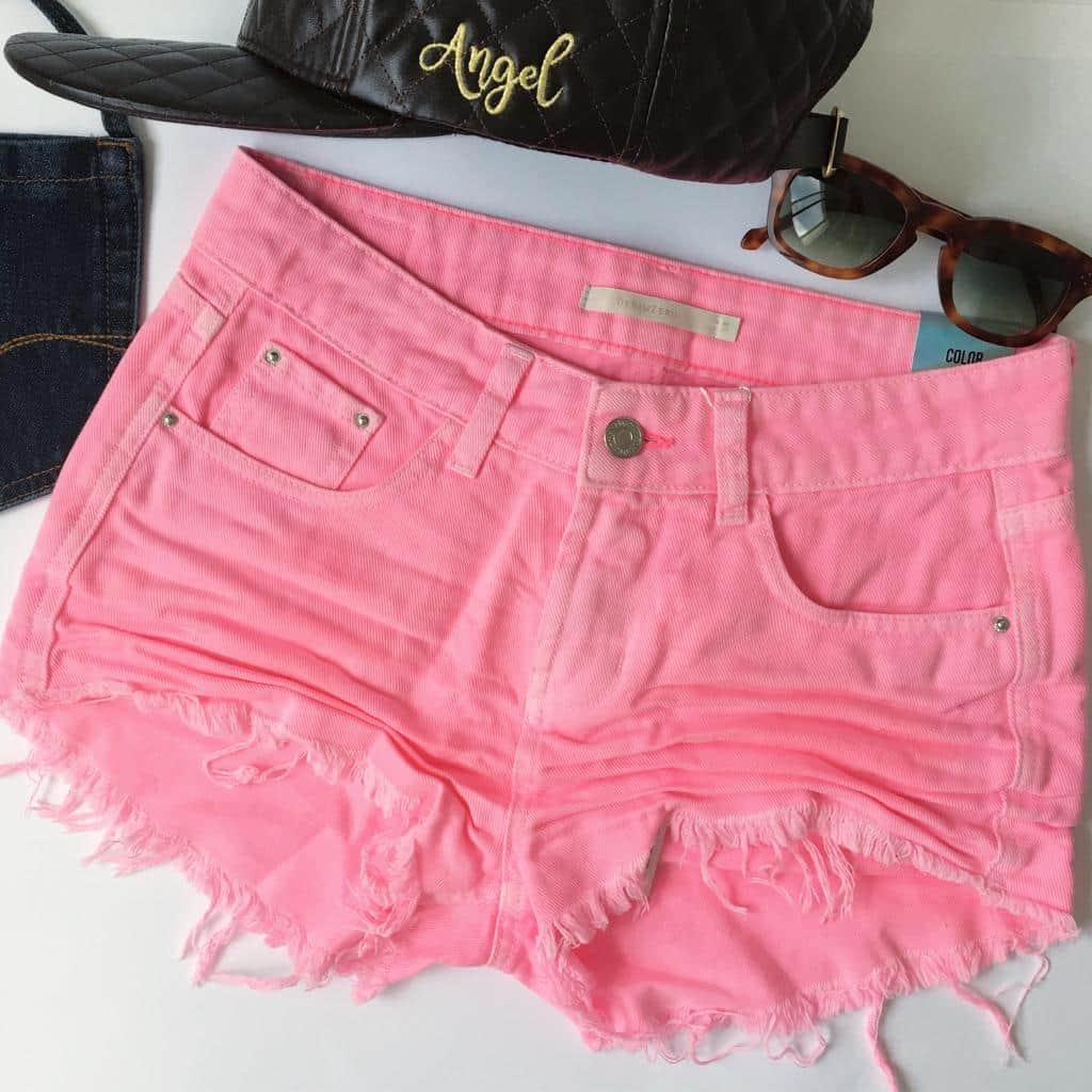Short Jeans Denim Zero Color Pink Rosa