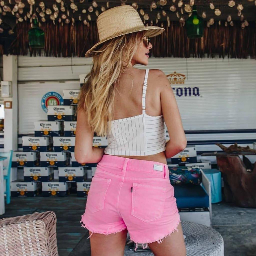 Short Jeans Feminino Denim Zero Color Pink Rosa