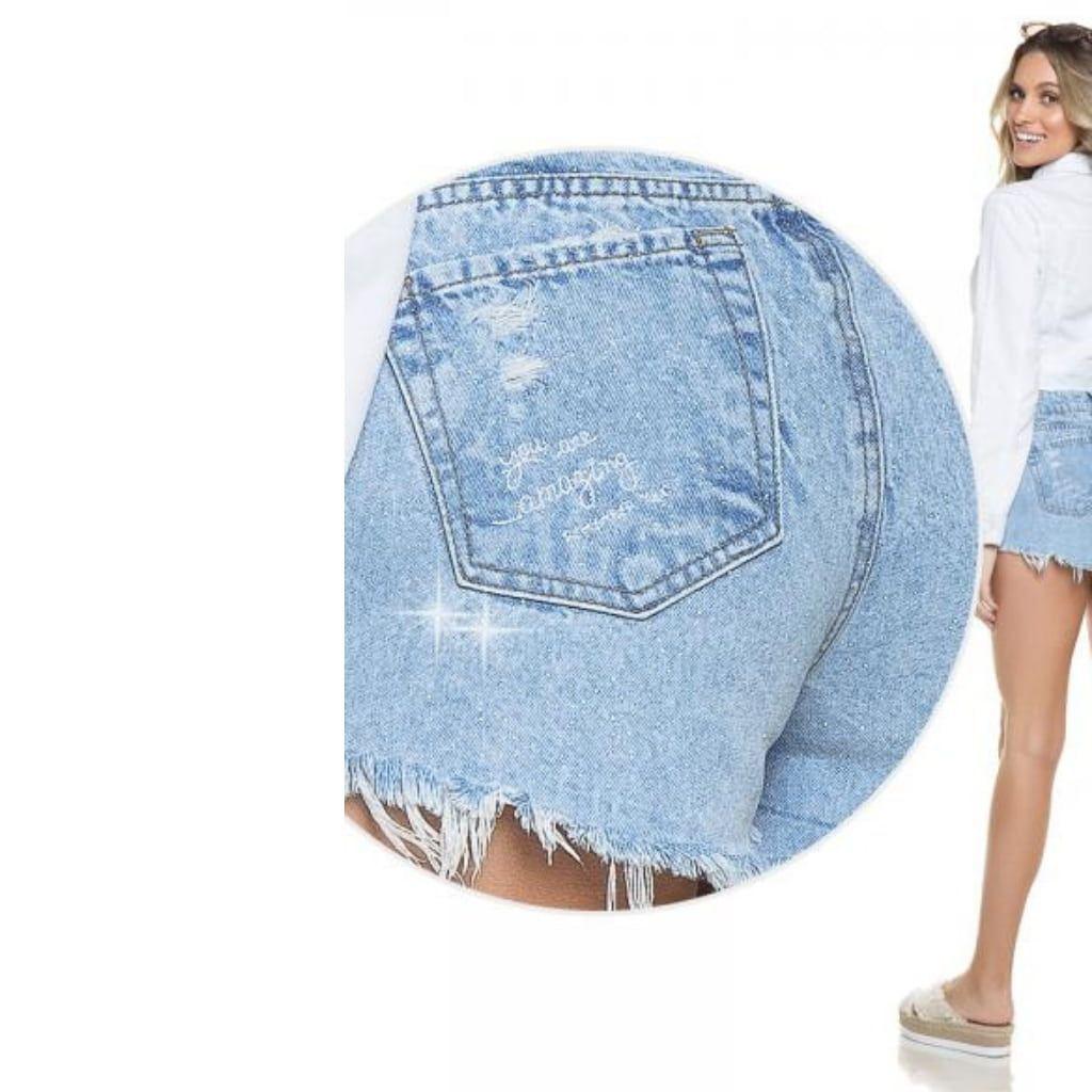 Short Jeans Denim Zero Com Brilho