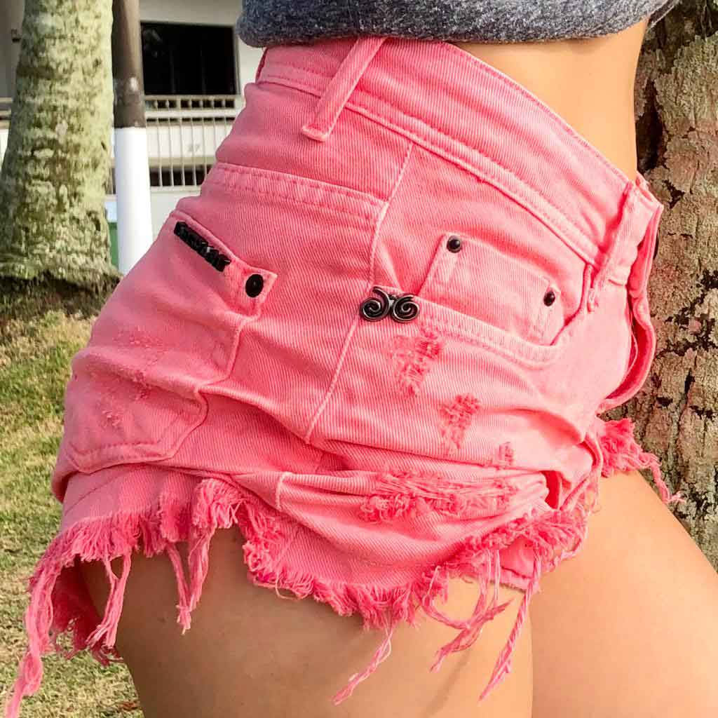 Short Jeans Feast Color Rosa Neon