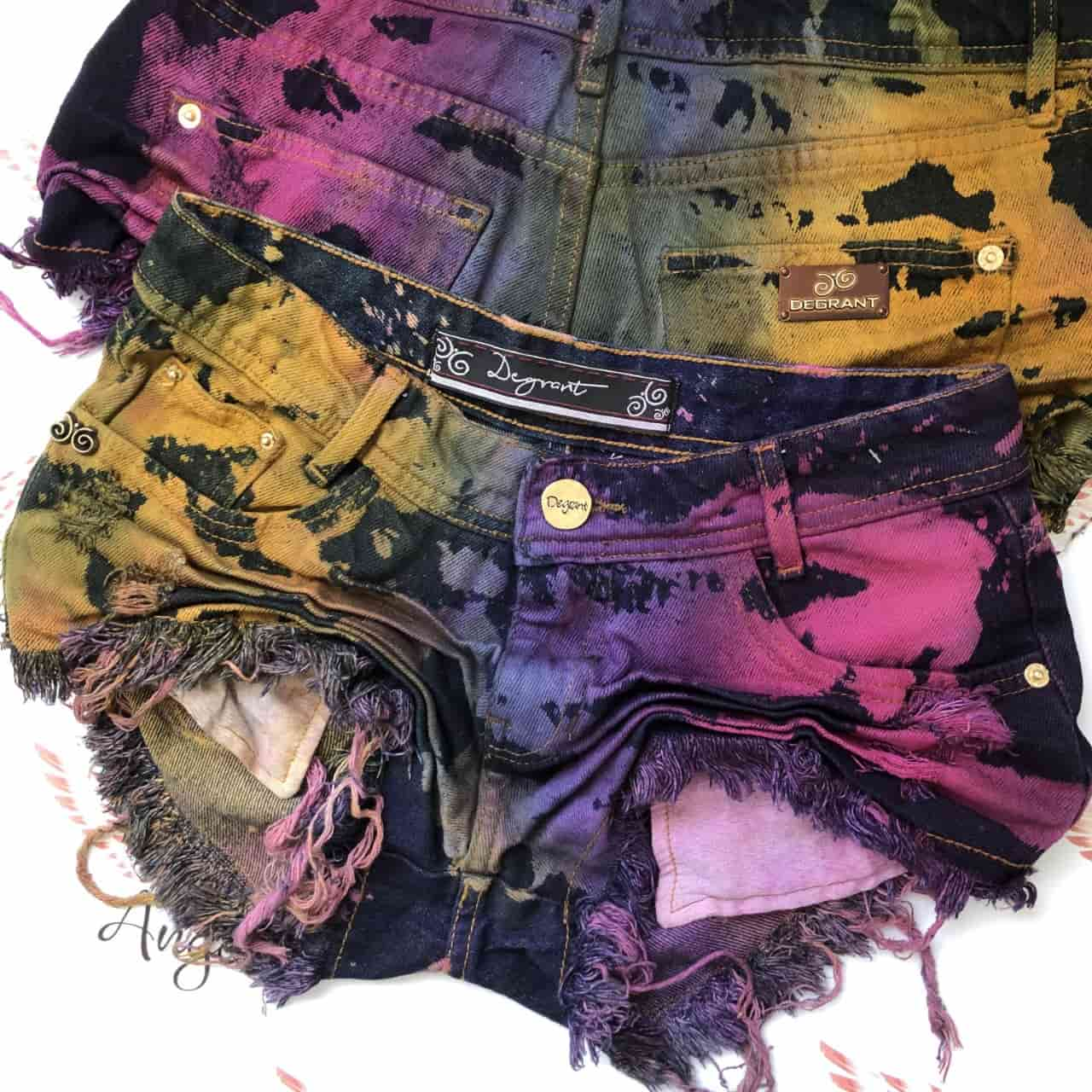 Short Jeans Feast Color Tie Dye Cós Baixo