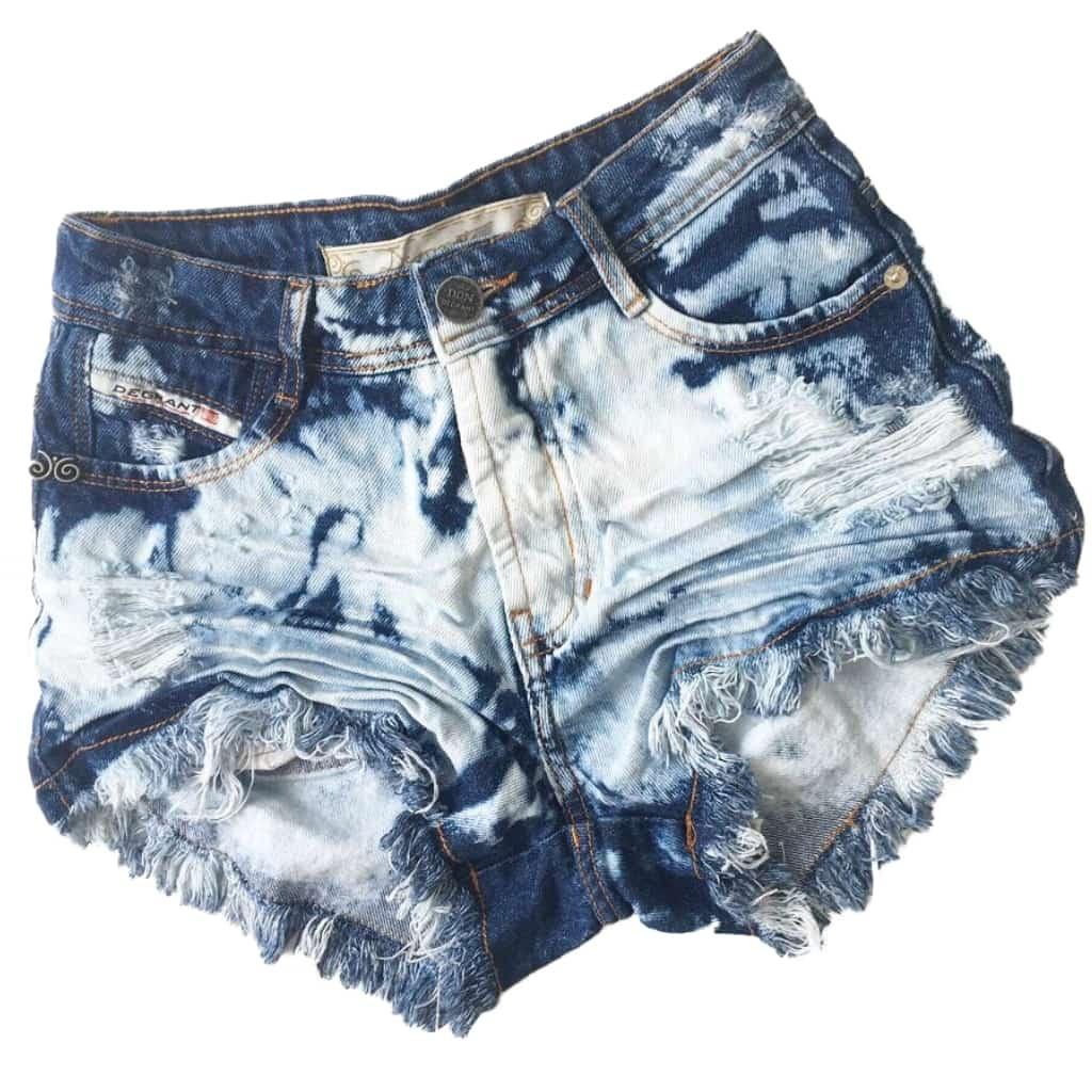 Short Jeans Degrant Cintura Alta Sky Spot Azul
