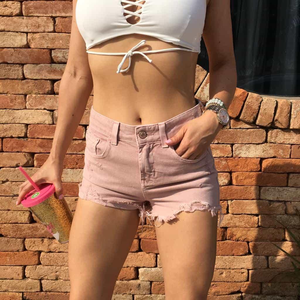 Short Jeans Denim Zero Color Rose