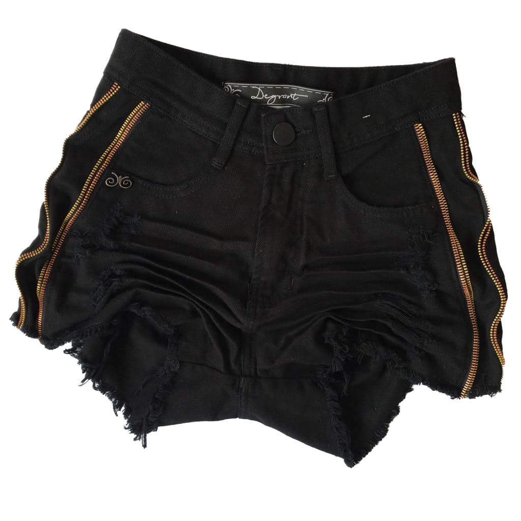 SHORT PRETO DEGRANT CINTURA ALTA ZIPER COLLECTION