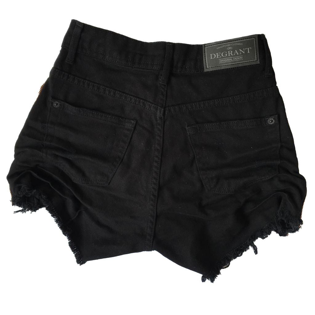Short Jeans Degrant Cintura Alta Zíper Collection Preto