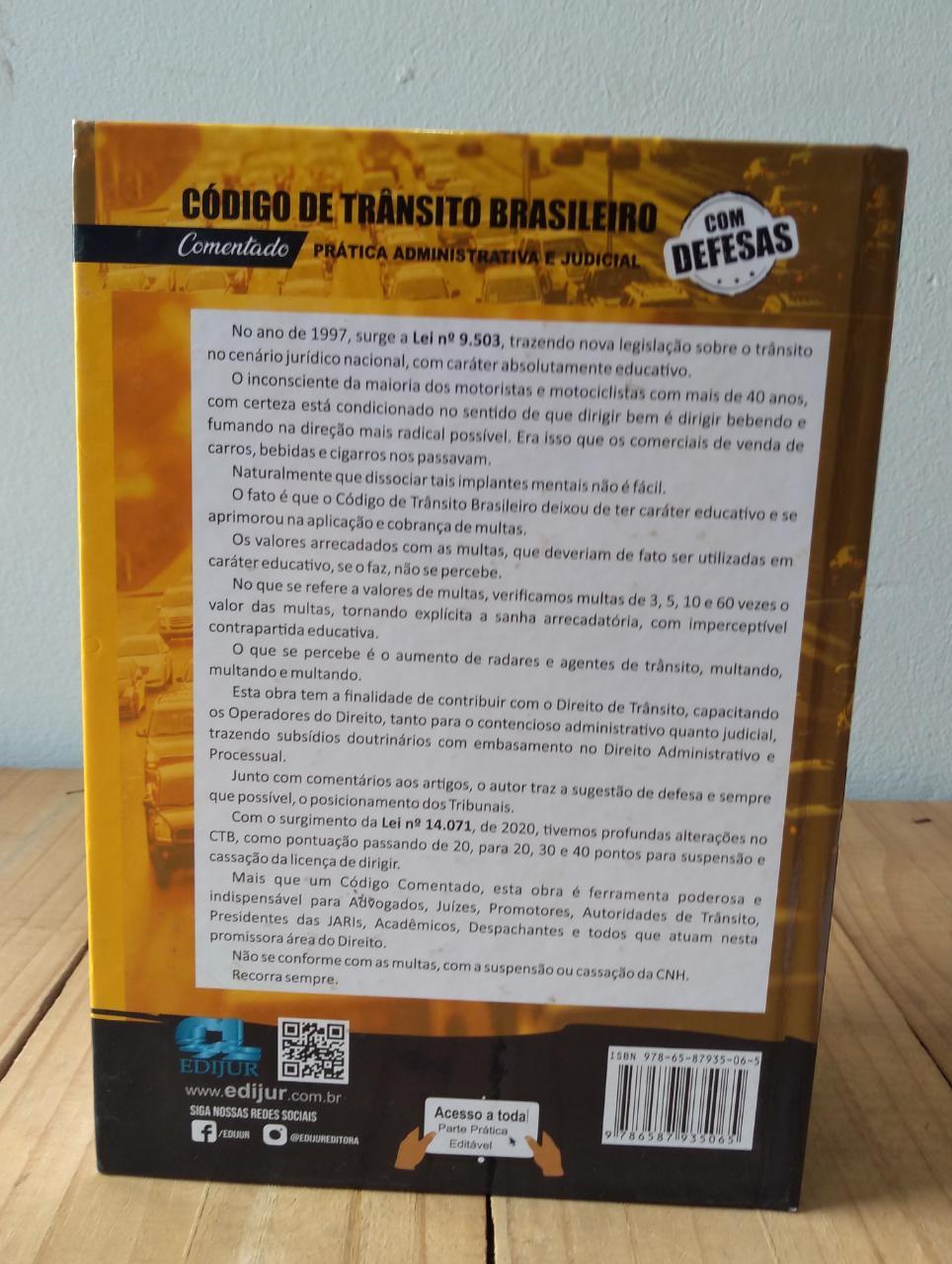 Código de Trânsito Brasileiro Comentado - Prática Administrativa e Judicial - Com Defesas  - Edijur Editora