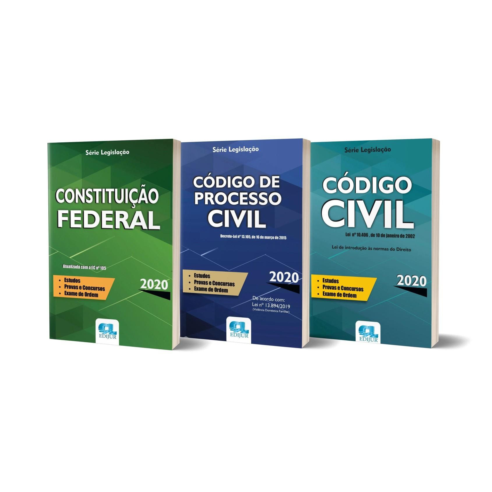 Combo Série Legislação 2020 - Código de Processo Civil / Código Civil / Constituição Federal  - Edijur Editora