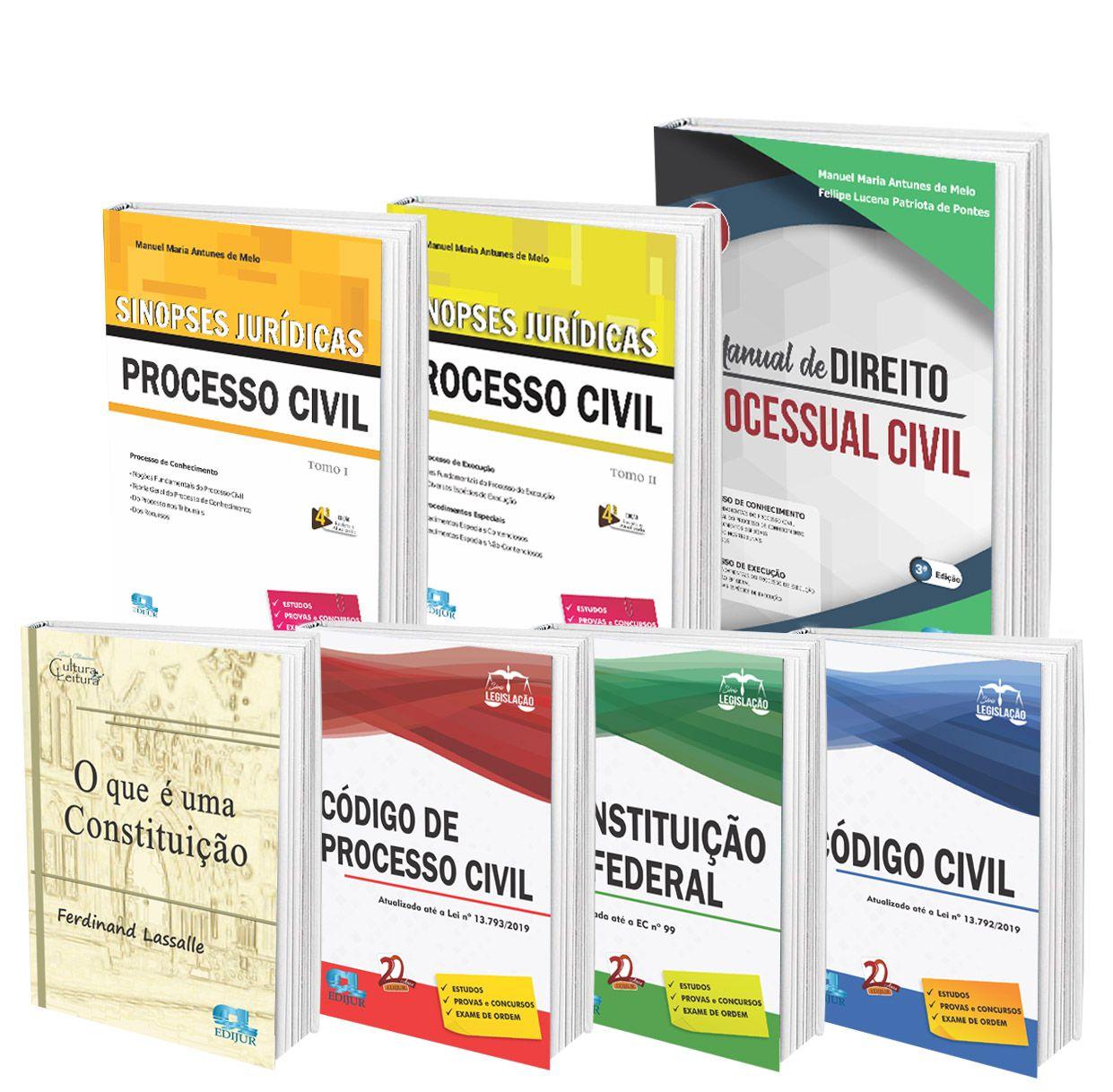 COMBO - Série Legislação - O que é uma constituição + Sinopses Processo Civil + Manual de Direito Processual Civil  - Edijur Editora