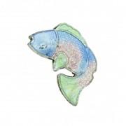 Cloisonné - Entremeio - Peixe - Azul e Rosa