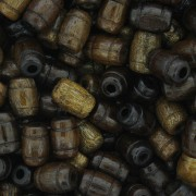 Contas de Madeira - 7x10mm Frisada - Imbuia