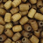 Contas de Madeira - 7x10mm Frisada - Peroba