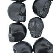 Fio de Caveira de Pedra - Preta - Média - 18x15mm