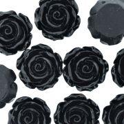 Flor de Resina - Preta - 28mm