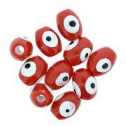 Olho Grego - Oval - Vermelho - 13x10mm