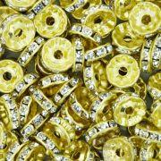 Rondela de Strass - Dourada - 10mm
