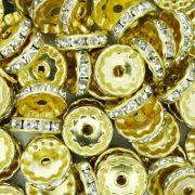 Rondela de Strass - Dourada - 12mm