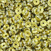 Rondela de Strass - Dourada - 6mm