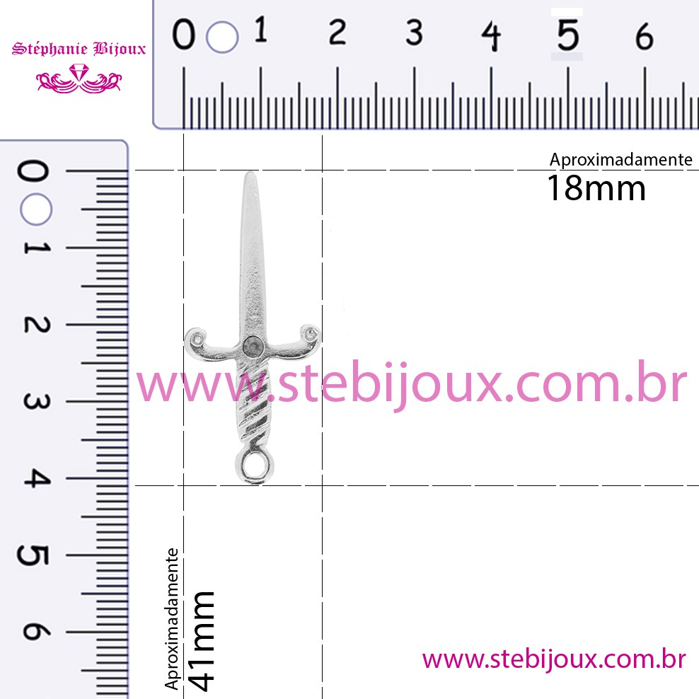 Adaga - Dourada Strass Vermelho - 41mm  - Stéphanie Bijoux® - Peças para Bijuterias e Artesanato
