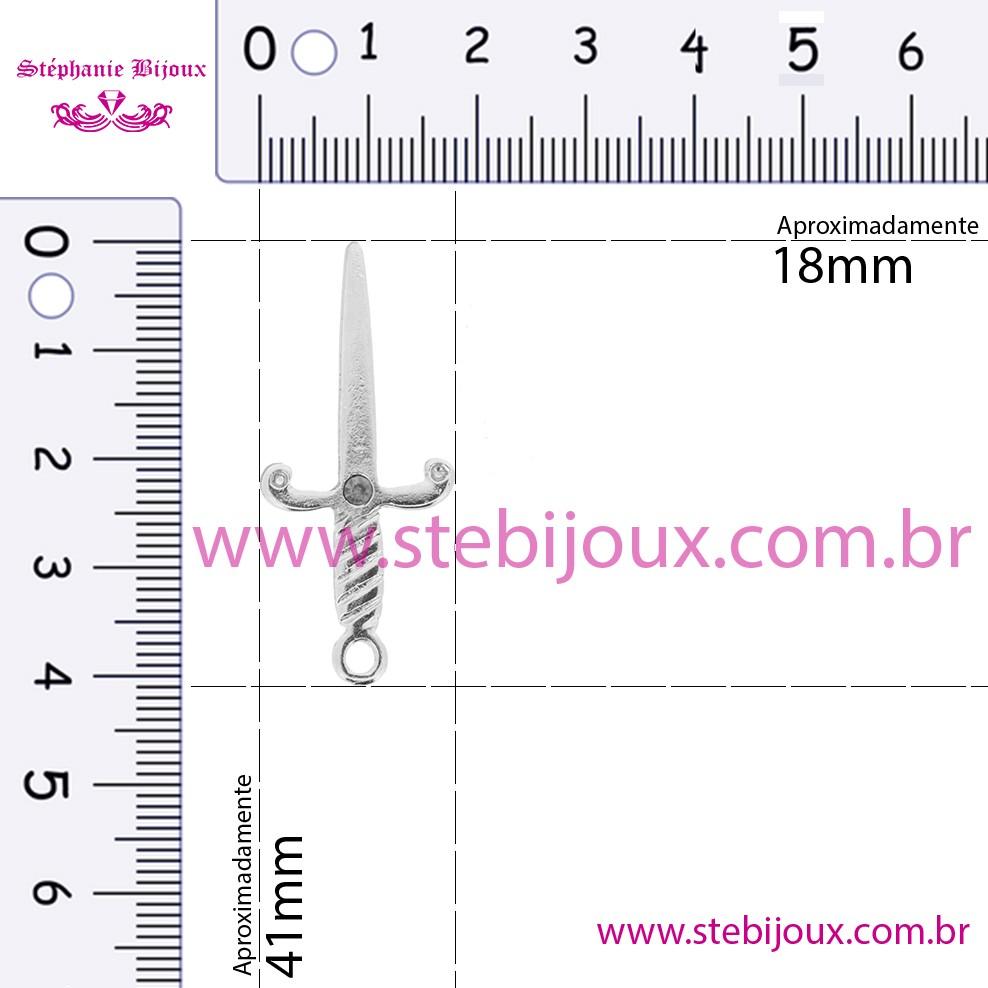 Adaga - Níquel Strass Vermelho - 41mm  - Stéphanie Bijoux® - Peças para Bijuterias e Artesanato