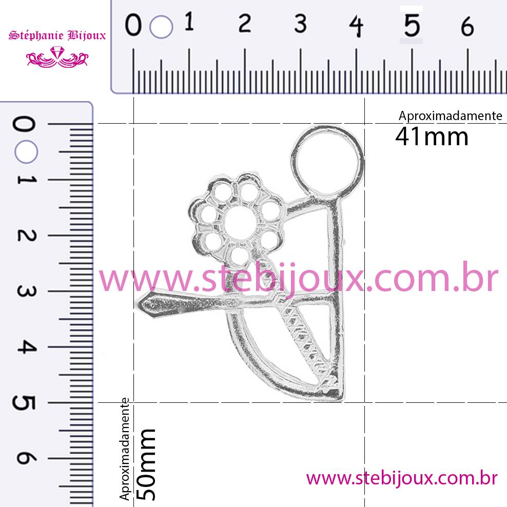 Arco e Flecha com Espelho - Ouro Velho - 50mm  - Stéphanie Bijoux® - Peças para Bijuterias e Artesanato