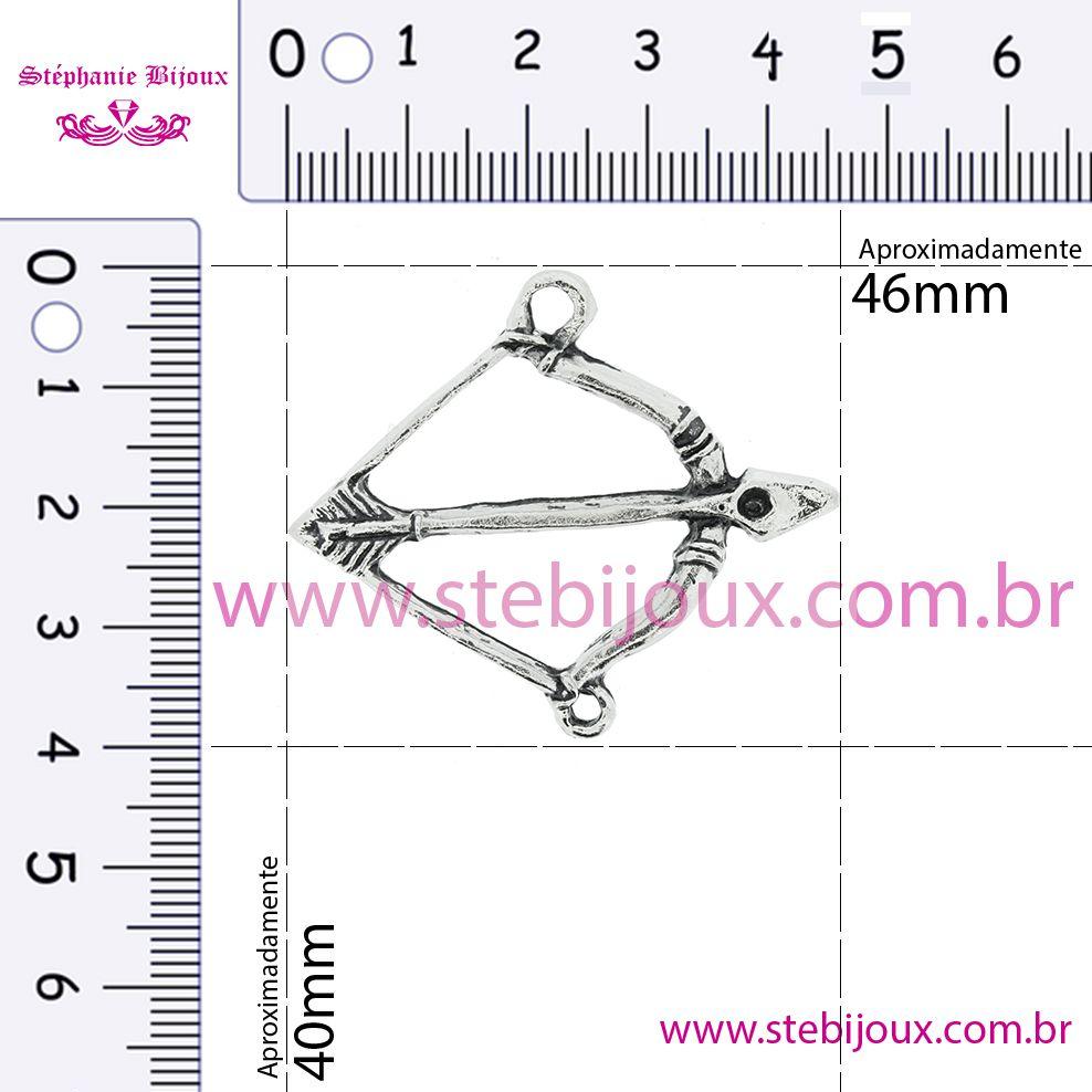 Arco e Flecha - Níquel Velho - 40mm  - Stéphanie Bijoux® - Peças para Bijuterias e Artesanato