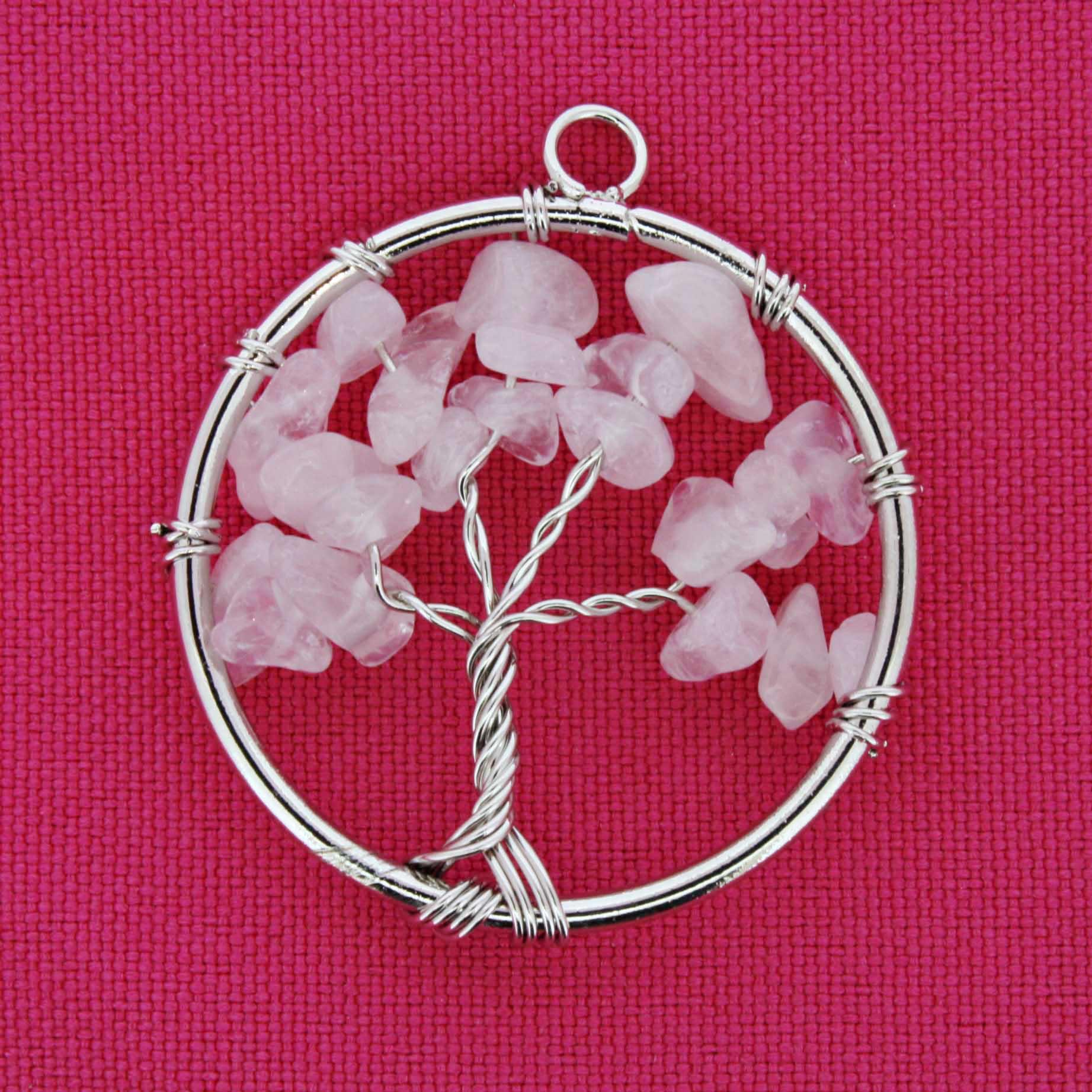 Árvore da Vida - Arame - Quartzo Rosa - 40mm  - Stéphanie Bijoux® - Peças para Bijuterias e Artesanato