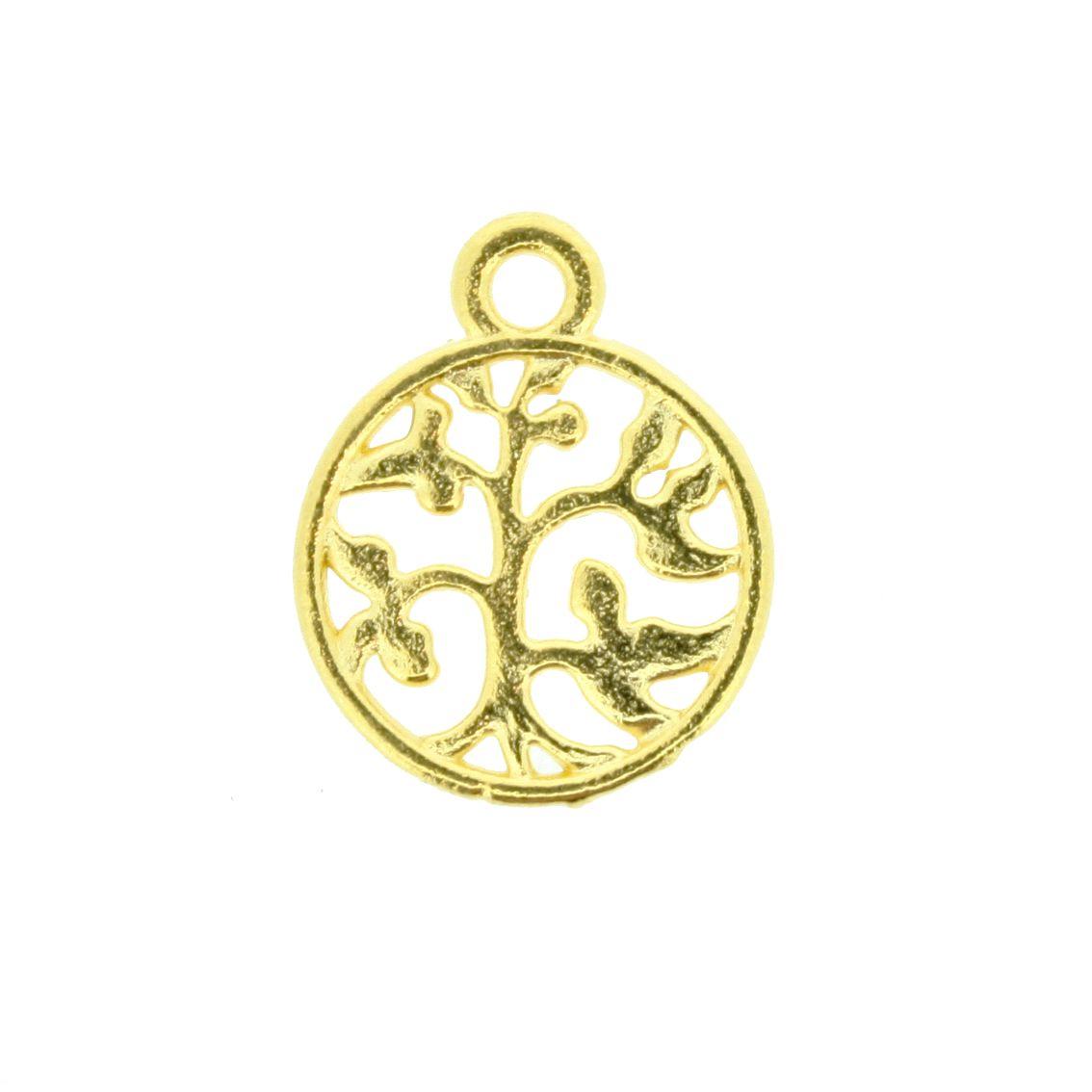 Árvore da Vida - Dourada - 18mm  - Stéphanie Bijoux® - Peças para Bijuterias e Artesanato