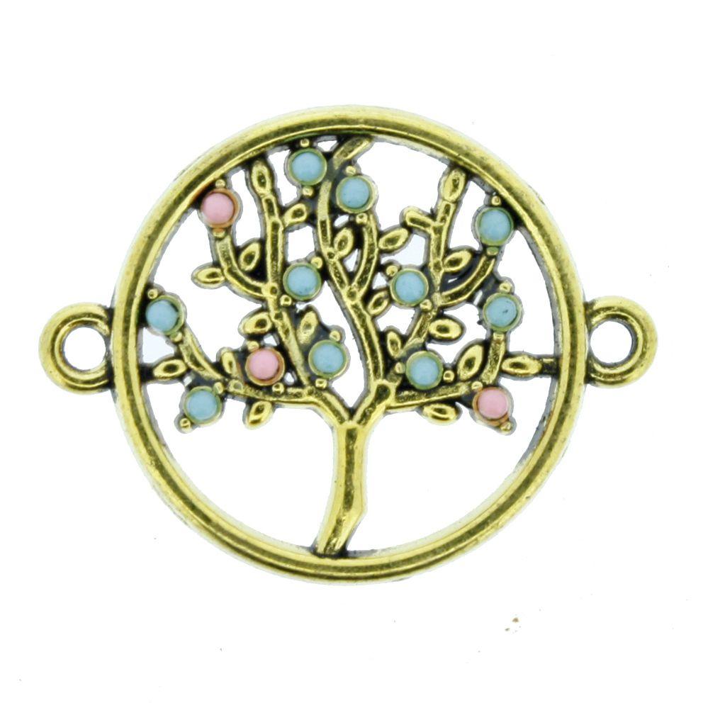 Árvore da Vida - Dourada - 20mm  - Stéphanie Bijoux® - Peças para Bijuterias e Artesanato
