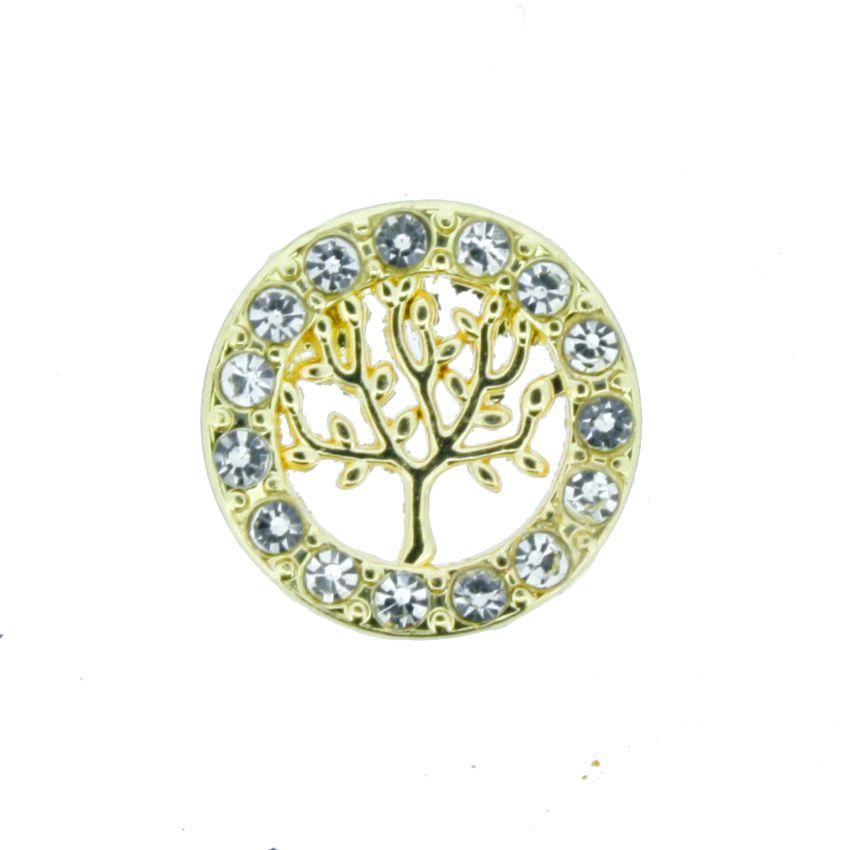 Árvore da Vida - Dourada com Strass - 12mm  - Stéphanie Bijoux® - Peças para Bijuterias e Artesanato