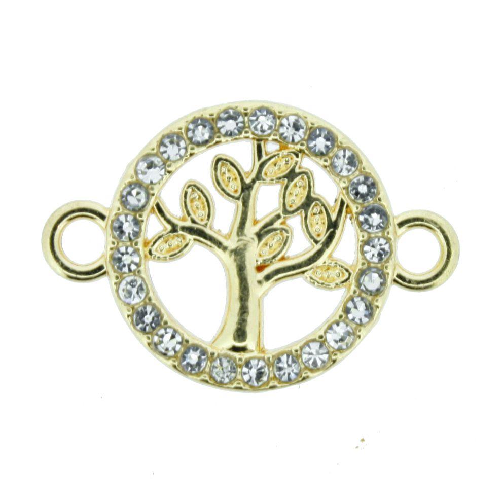 Árvore da Vida - Dourada com Strass - 16mm  - Stéphanie Bijoux® - Peças para Bijuterias e Artesanato
