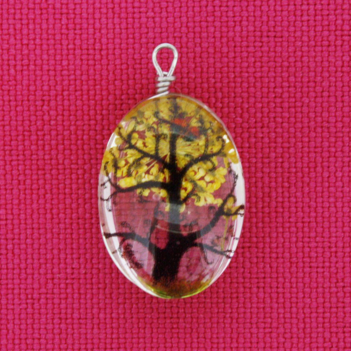 Árvore da Vida - Gema - Amarelo - 28mm  - Stéphanie Bijoux® - Peças para Bijuterias e Artesanato