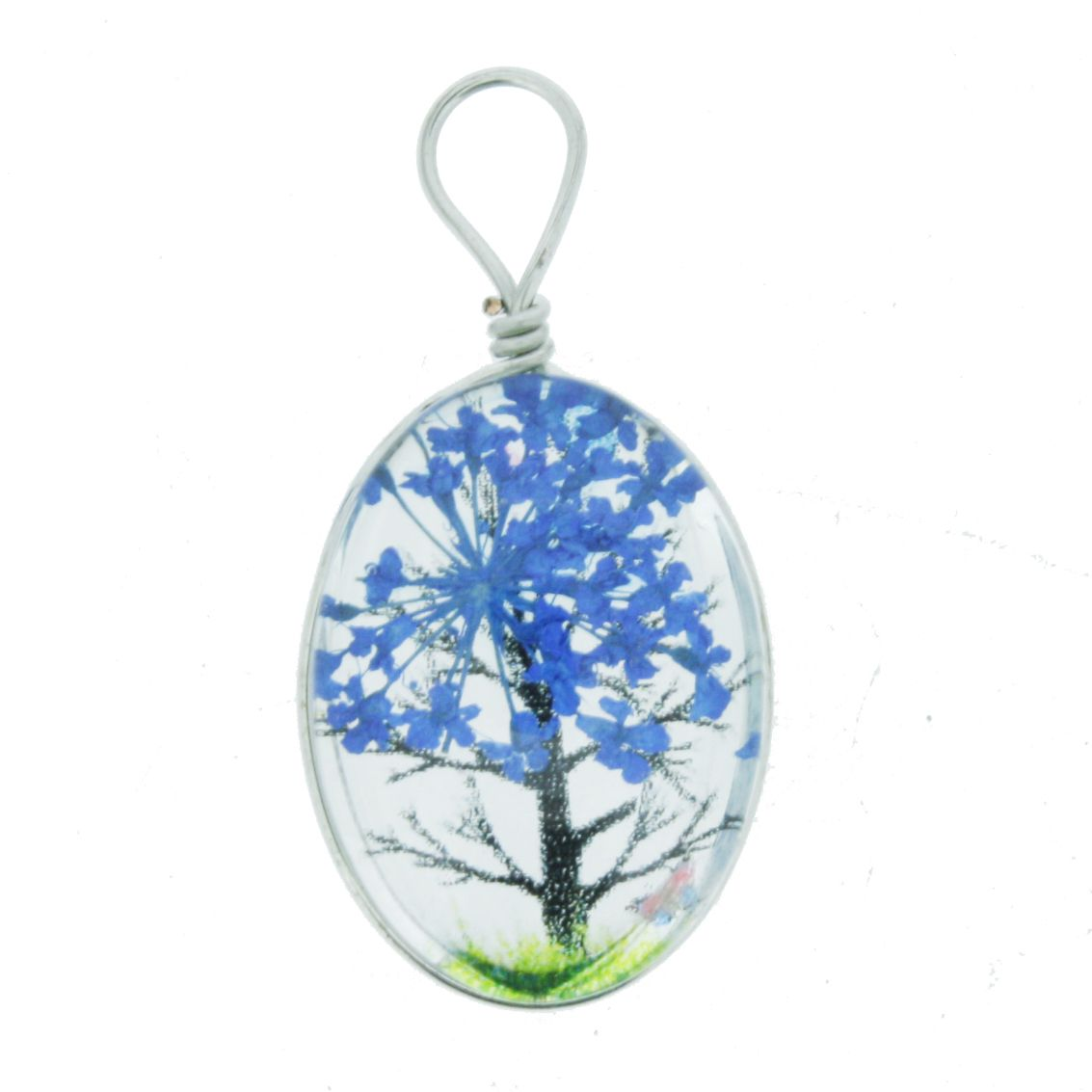 Árvore da Vida - Gema - Azul - 28mm  - Stéphanie Bijoux® - Peças para Bijuterias e Artesanato