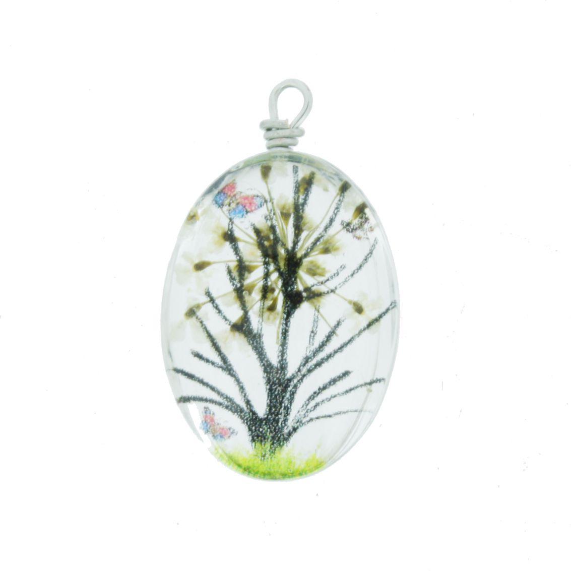 Árvore da Vida - Gema - Branca - 28mm  - Stéphanie Bijoux® - Peças para Bijuterias e Artesanato