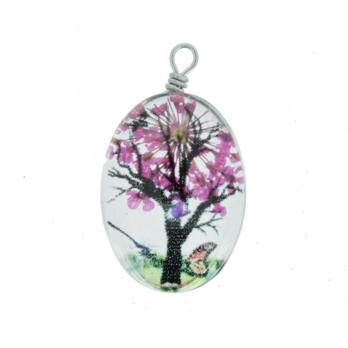 Árvore da Vida - Gema - Pink - 28mm  - Stéphanie Bijoux® - Peças para Bijuterias e Artesanato