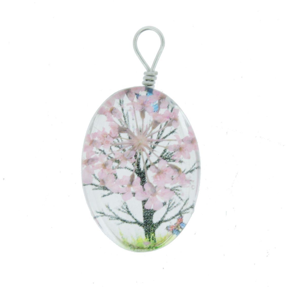 Árvore da Vida - Gema - Rosa - 28mm  - Stéphanie Bijoux® - Peças para Bijuterias e Artesanato