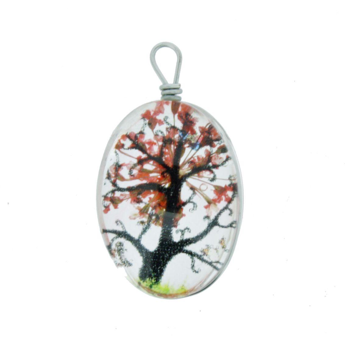 Árvore da Vida - Gema - Vermelha - 28mm  - Stéphanie Bijoux® - Peças para Bijuterias e Artesanato