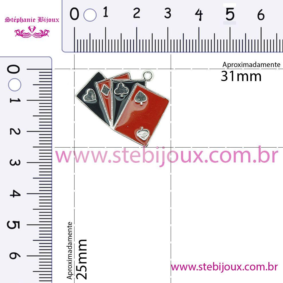 Baralho - Níquel e Resina - 25mm  - Stéphanie Bijoux® - Peças para Bijuterias e Artesanato
