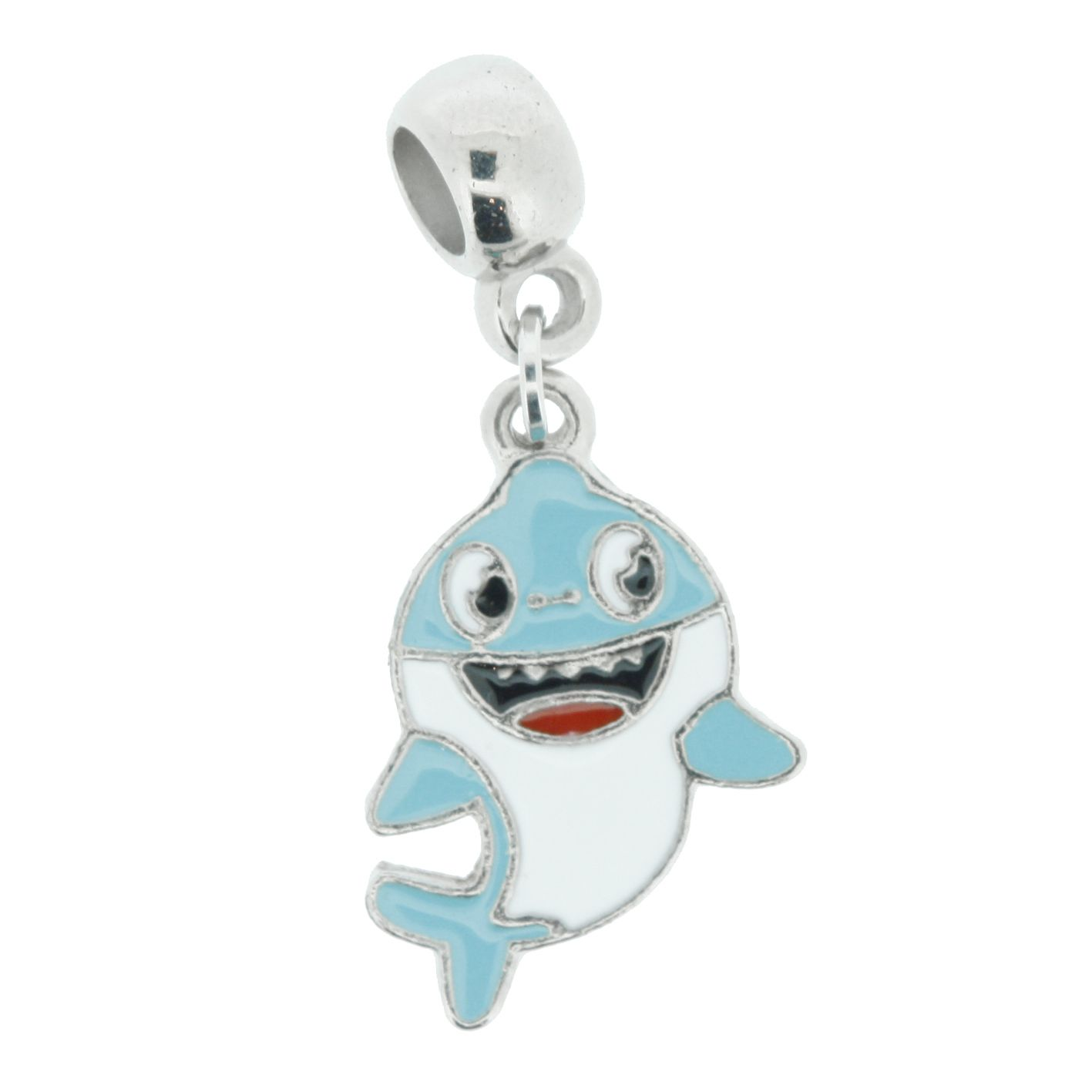 Berloque - Baby Shark Azul Claro - Níquel  - Stéphanie Bijoux® - Peças para Bijuterias e Artesanato