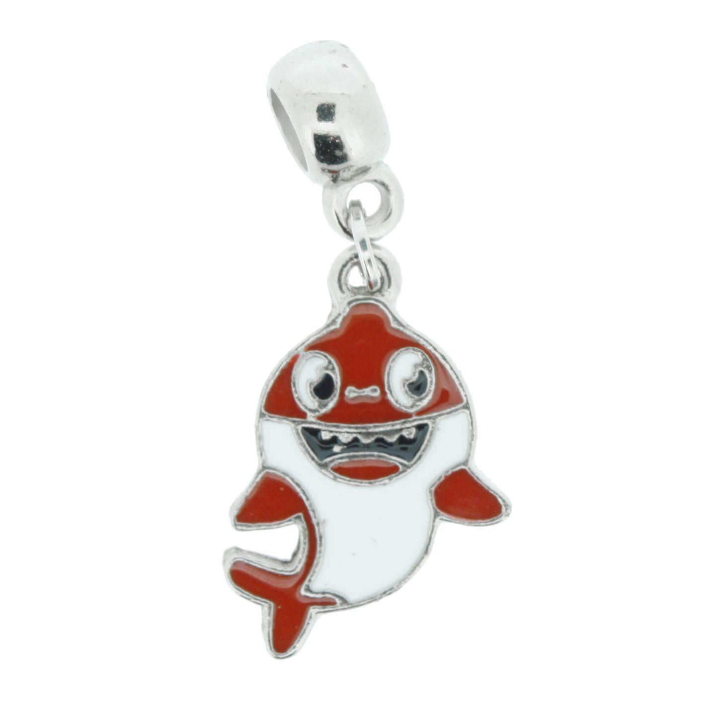 Berloque - Baby Shark Vermelho - Níquel  - Stéphanie Bijoux® - Peças para Bijuterias e Artesanato
