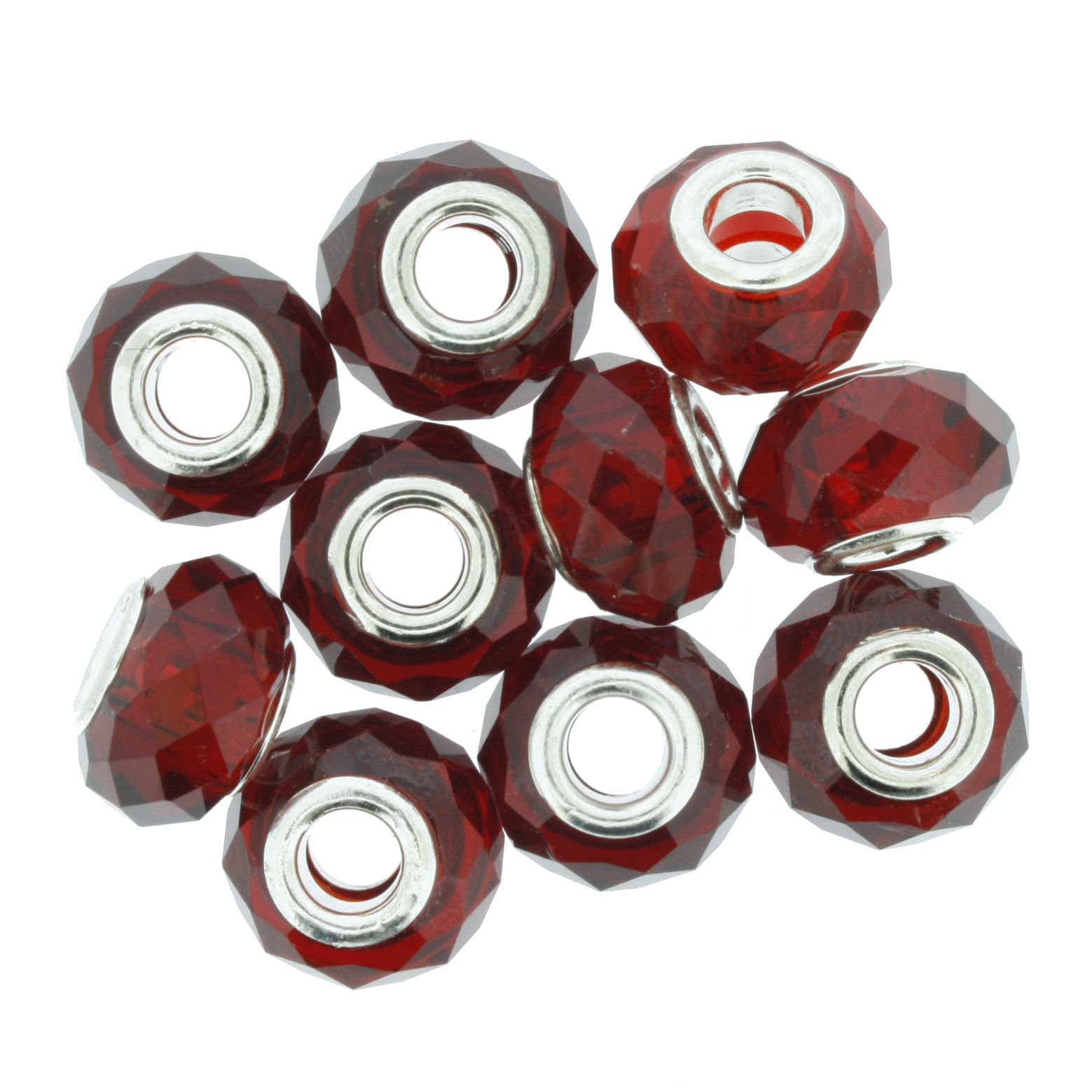 Berloque Crystal® - Vermelho Transparente - Níquel  - Stéphanie Bijoux® - Peças para Bijuterias e Artesanato