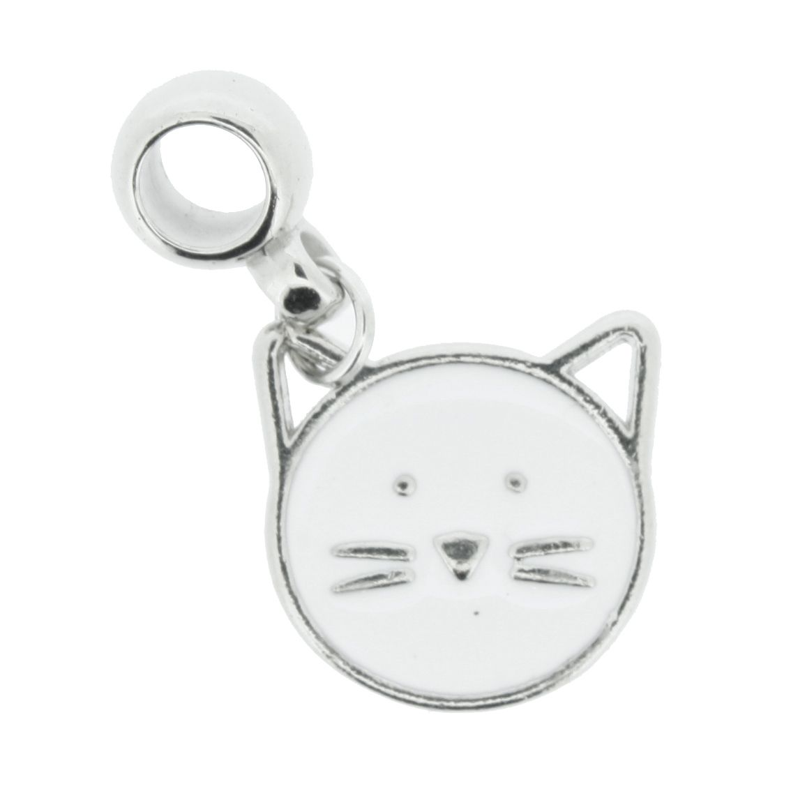 Berloque - Gato Branco - Níquel  - Stéphanie Bijoux® - Peças para Bijuterias e Artesanato
