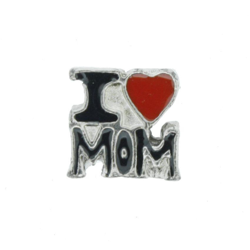 Berloque - I Love Mom - Níquel  - Stéphanie Bijoux® - Peças para Bijuterias e Artesanato