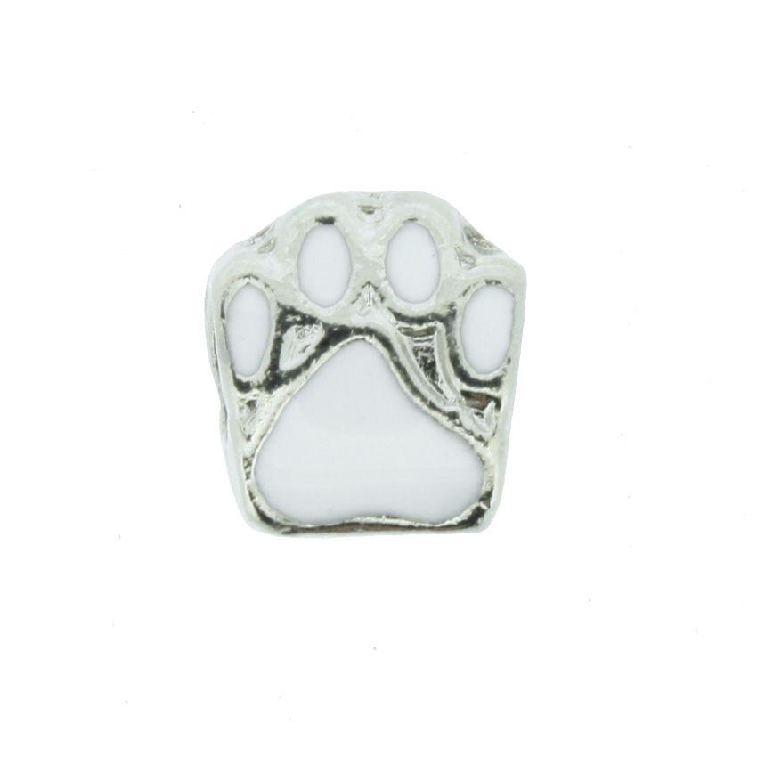 Berloque - Pata Cachorro Branca - Níquel  - Stéphanie Bijoux® - Peças para Bijuterias e Artesanato