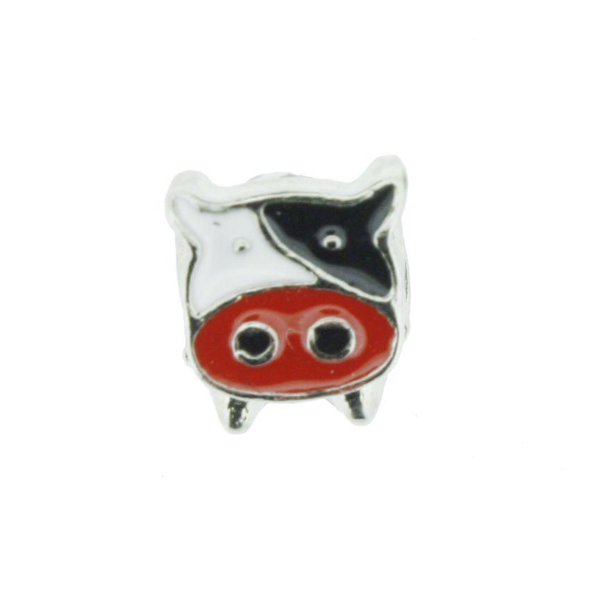 Berloque - Vaca - Níquel e Resina Vermelha  - Stéphanie Bijoux® - Peças para Bijuterias e Artesanato