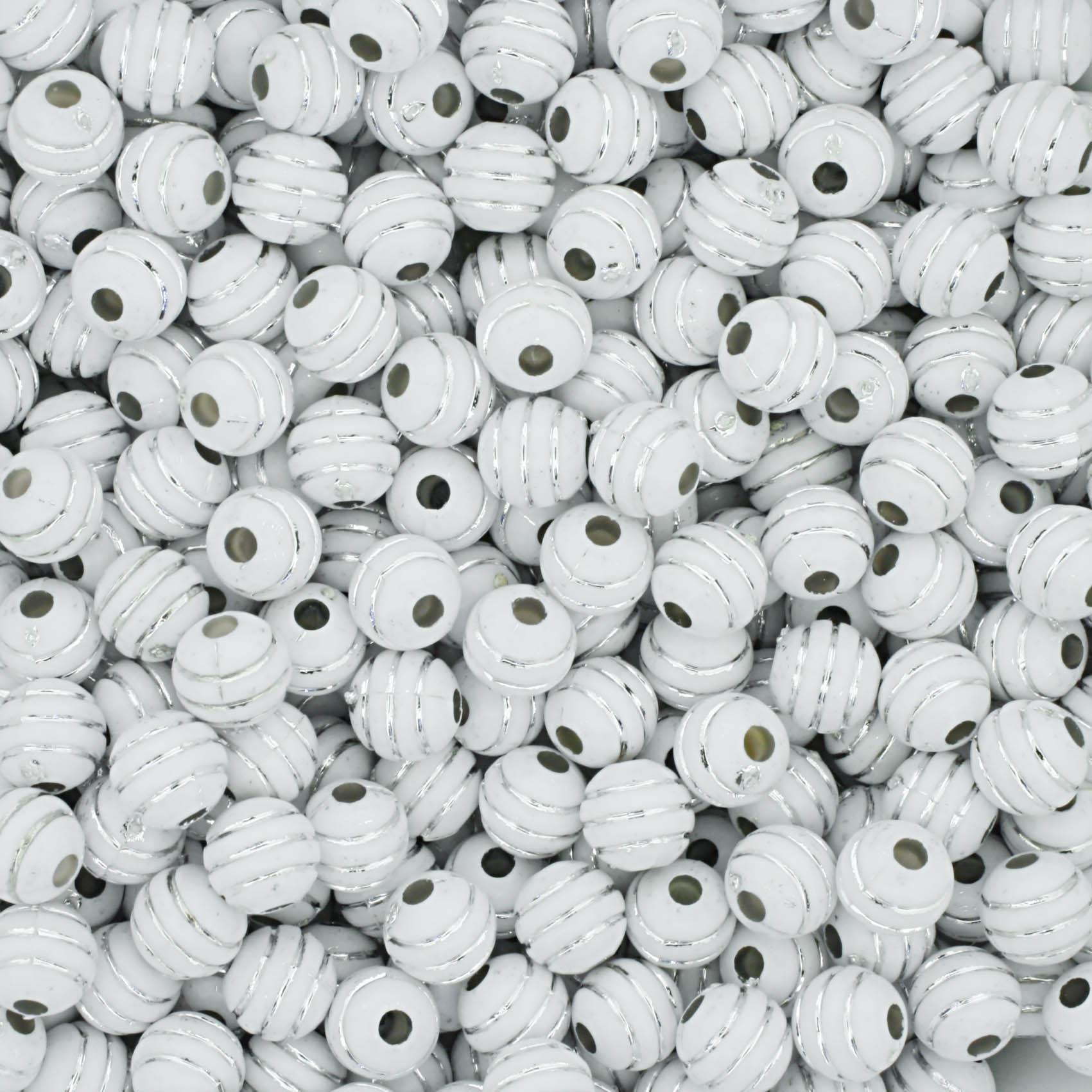 Bolinha - Listrada - Branca com Brilho  - Stéphanie Bijoux® - Peças para Bijuterias e Artesanato