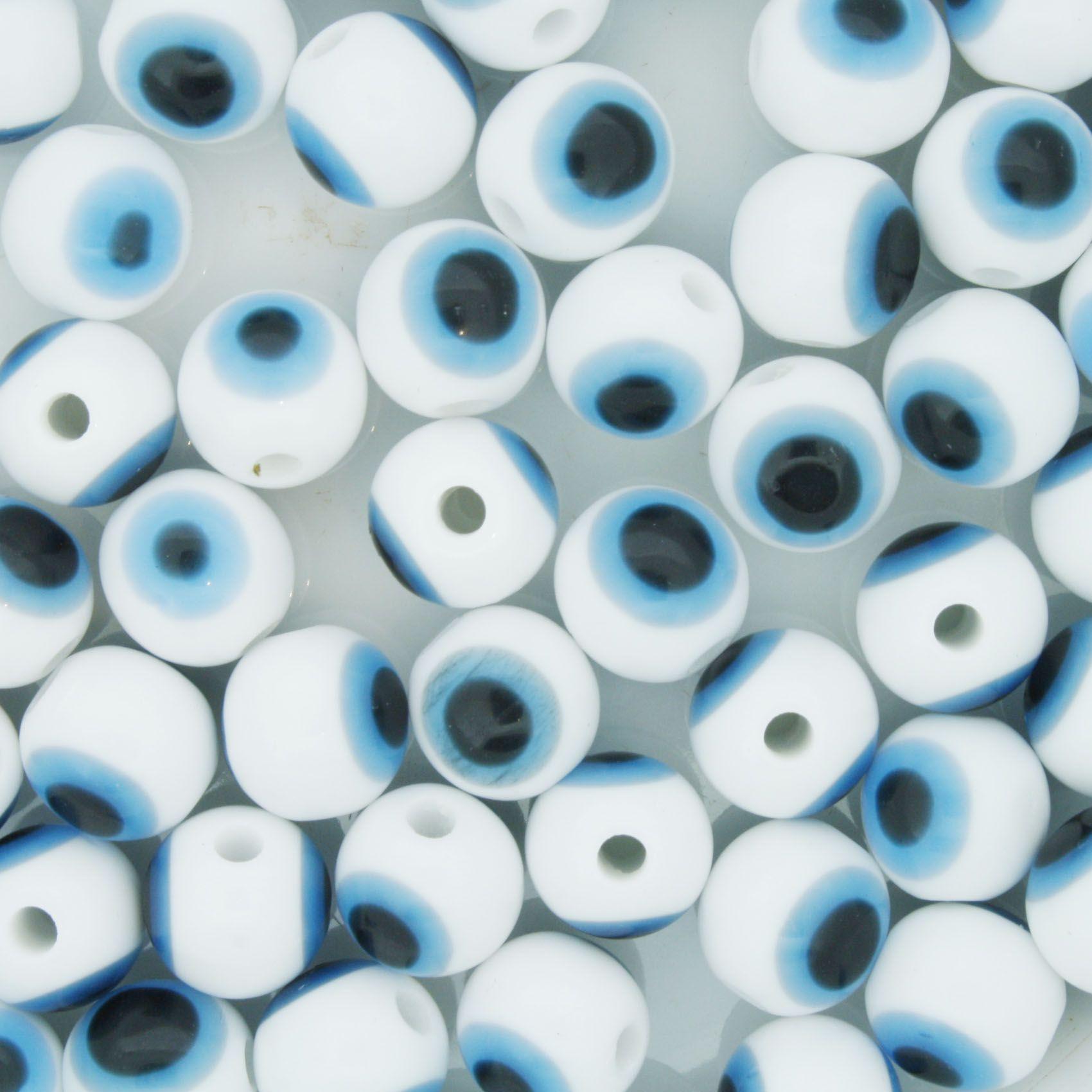 Bolinha - Olho Grego - Branco - 8mm  - Stéphanie Bijoux® - Peças para Bijuterias e Artesanato