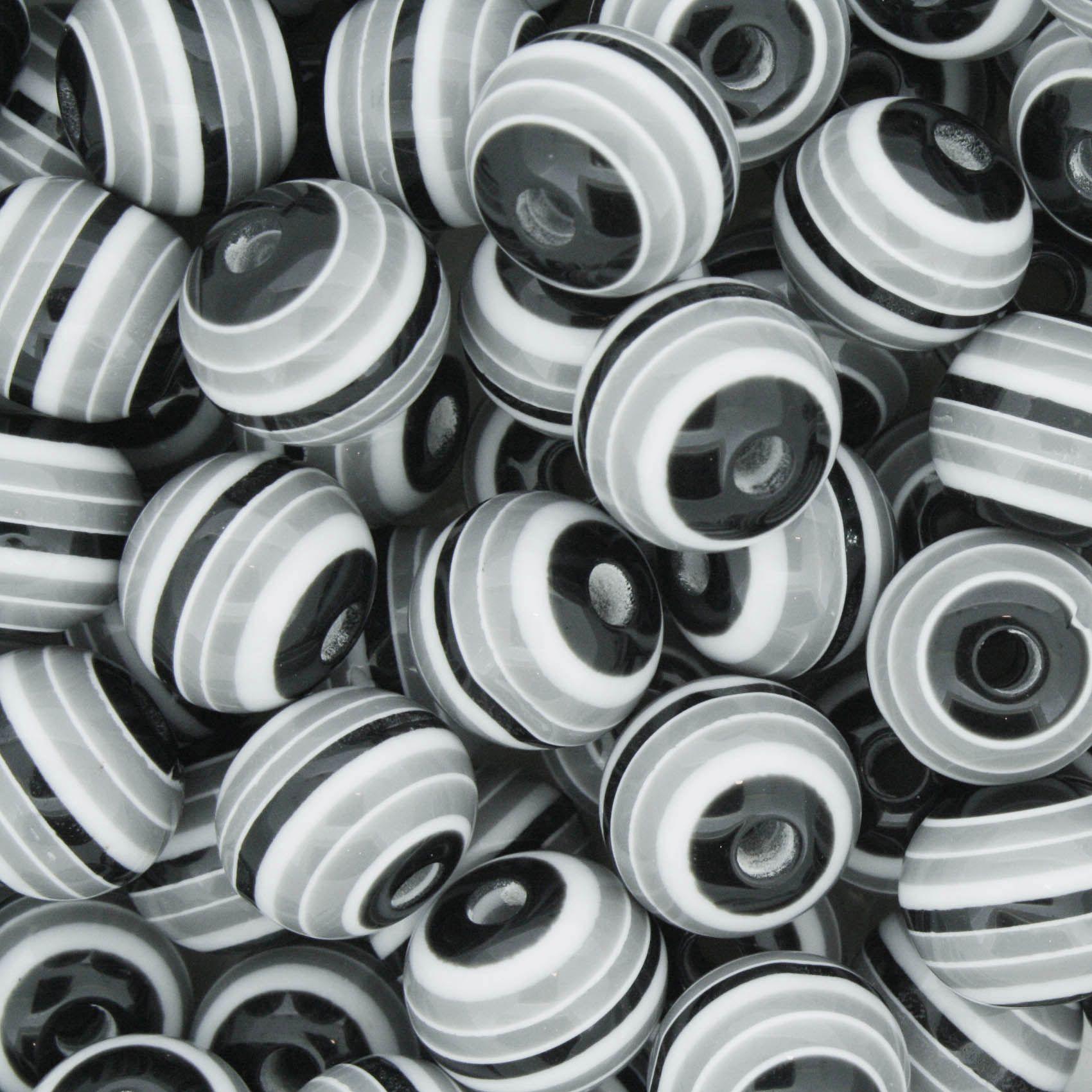 Bolinha - Olho Grego Listrado - Preto e Branco 10mm  - Stéphanie Bijoux® - Peças para Bijuterias e Artesanato