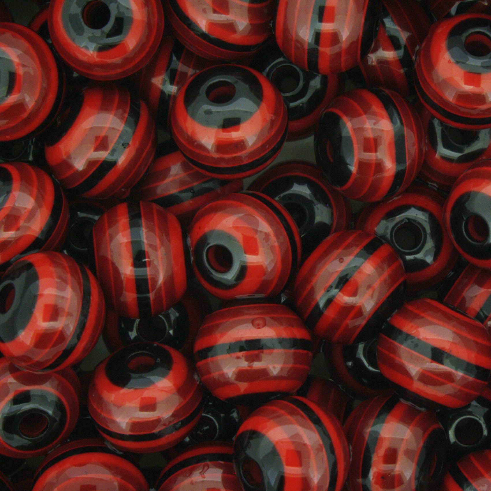 Bolinha - Olho Grego Listrado - Preto e Vermelho 10mm  - Stéphanie Bijoux® - Peças para Bijuterias e Artesanato